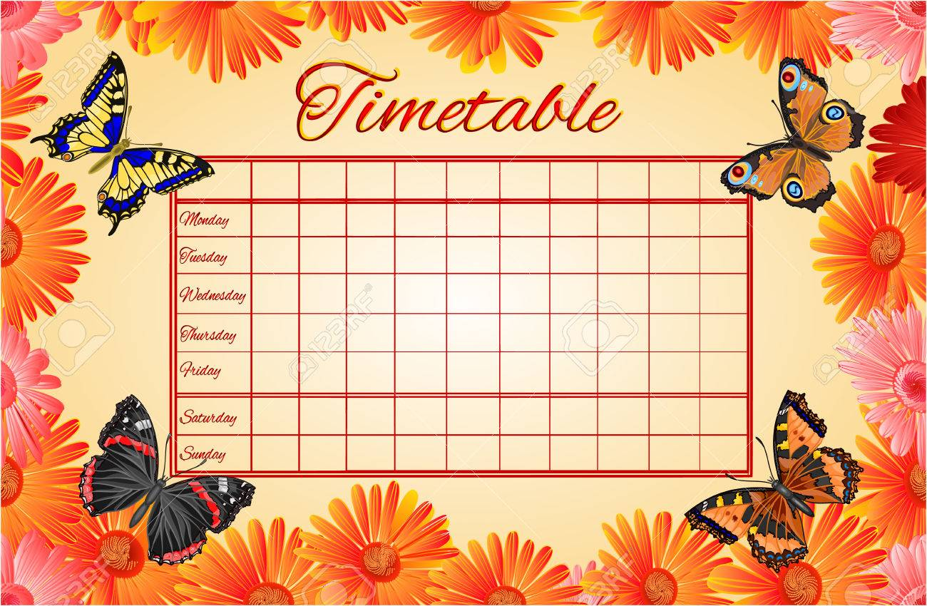 Timetable Gerbera And Butterflies School Timetable Vector – School Time Table Designs
