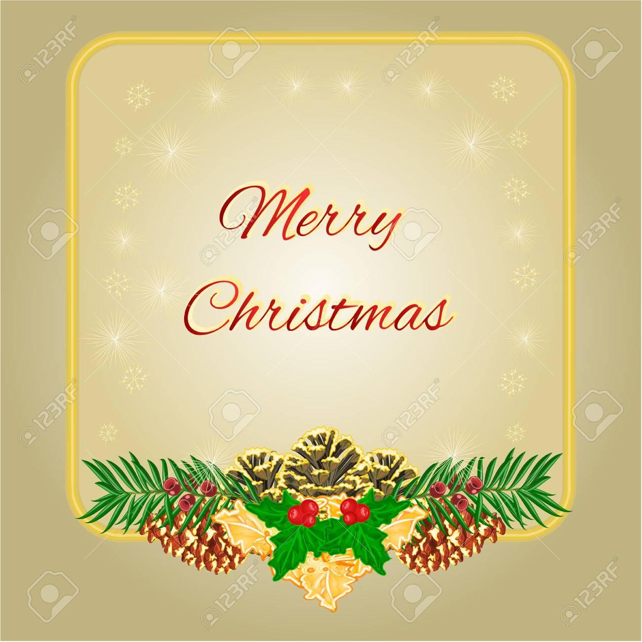 Frohe Weihnachten Rahmen Mit Tannenzapfen Grün Und Gold Holly ...