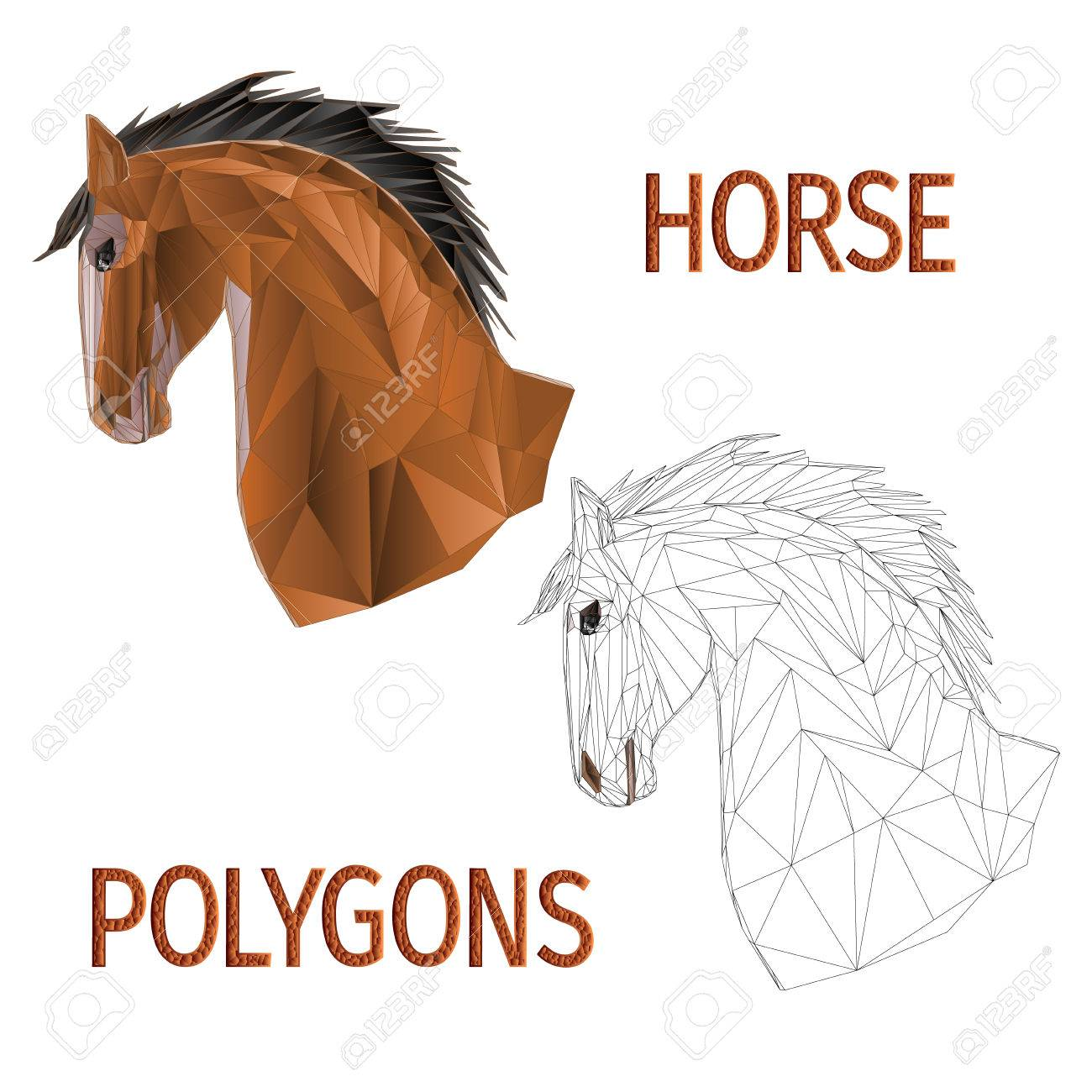 Brown Horse Head Polygons Coloured And Outline Vector Illustration Royalty Free Cliparts Vectors And Stock Illustration Image 71580745