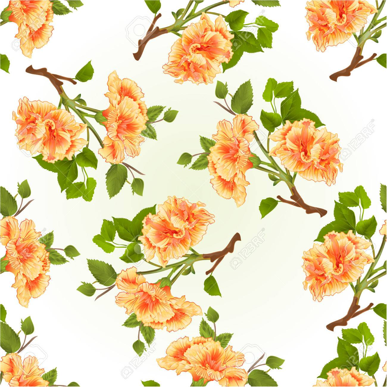 Seamless Texture Branch Yellow Hibiscus Tropical Flowers On