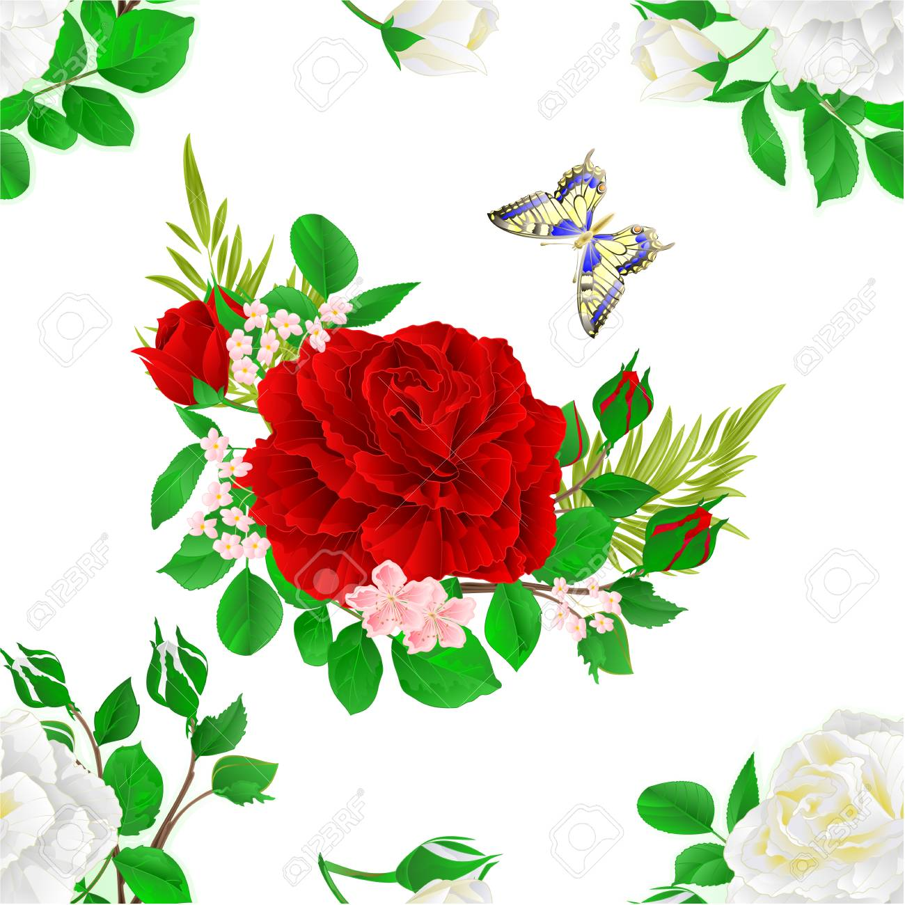 Seamless Texture Flower White And Red Roses And Buds And A Royalty