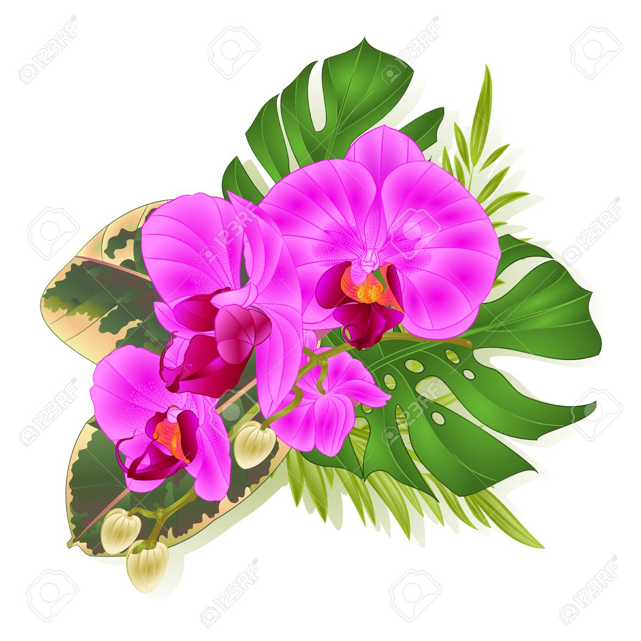 Bouquet with tropical flowers hawaiian style floral arrangement bouquet with tropical flowers hawaiian style floral arrangement with beautiful purple orchid palm izmirmasajfo