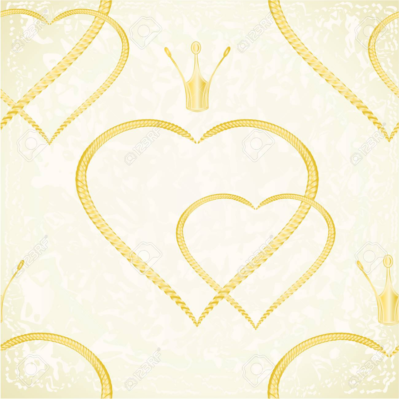 Standard bild texture golden hearts with a crown festive background vintage vector illustration editable hand drawn seamless