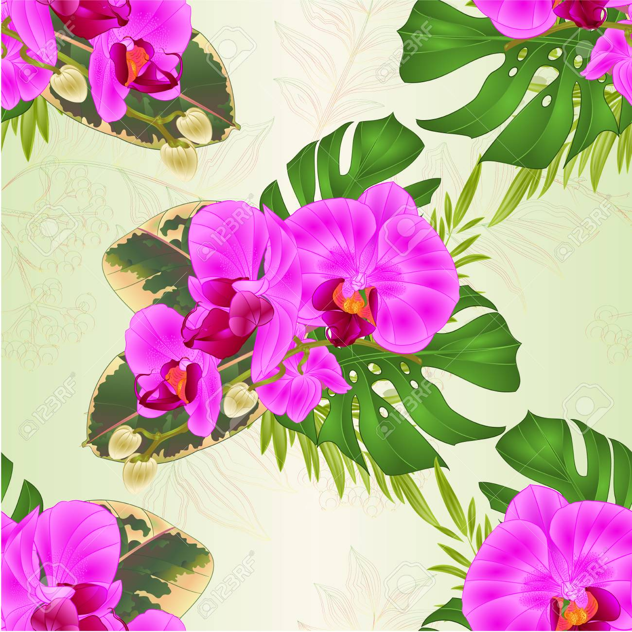 Seamless Texture Bouquet With Tropical Flowers Hawaiian Style ...