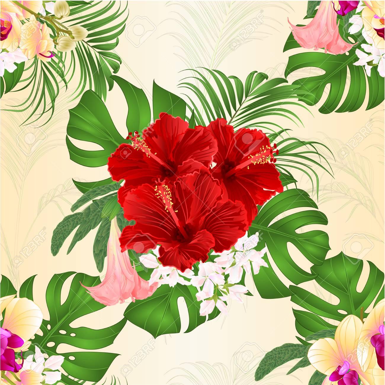 Seamless Texture Bouquet With Tropical Flowers Floral Arrangement