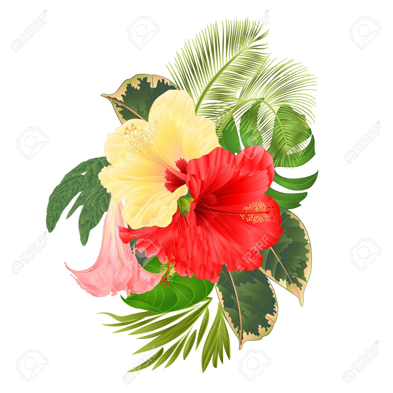 Tropical Flowers Floral Arrangement With Red And Yellow Hibiscus
