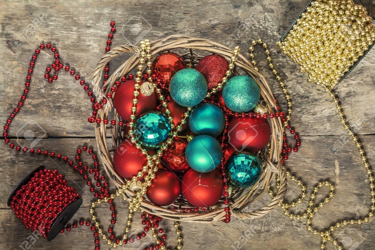 Weihnachtskugeln Rot Gold.Stock Photo