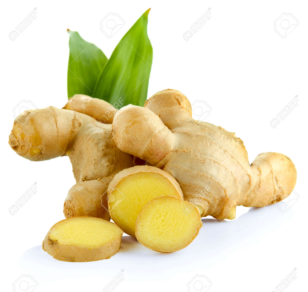 Fresh ginger with leaves isolated on white background. - 155048026