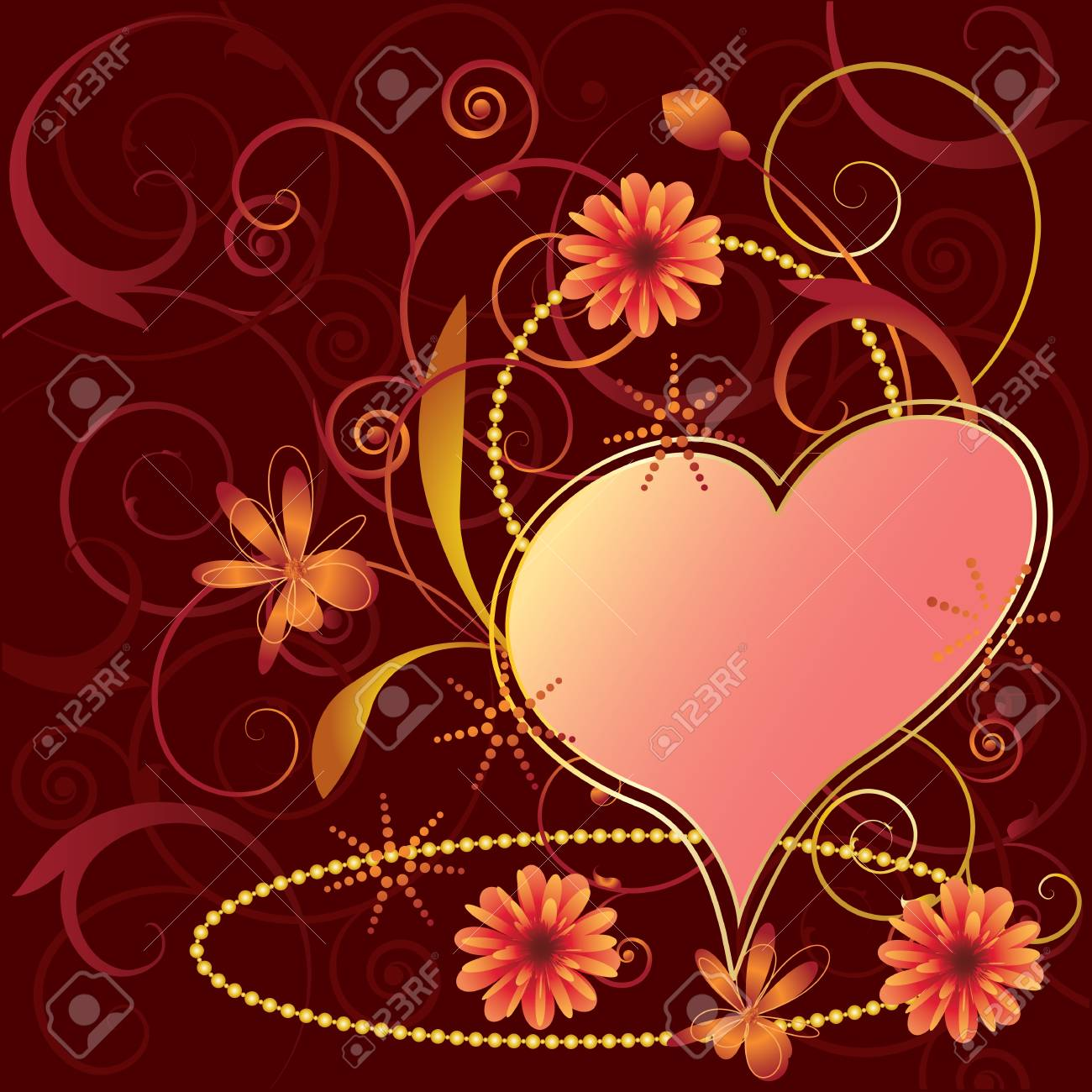 valentines floral background in red colors Stock Vector - 3938976