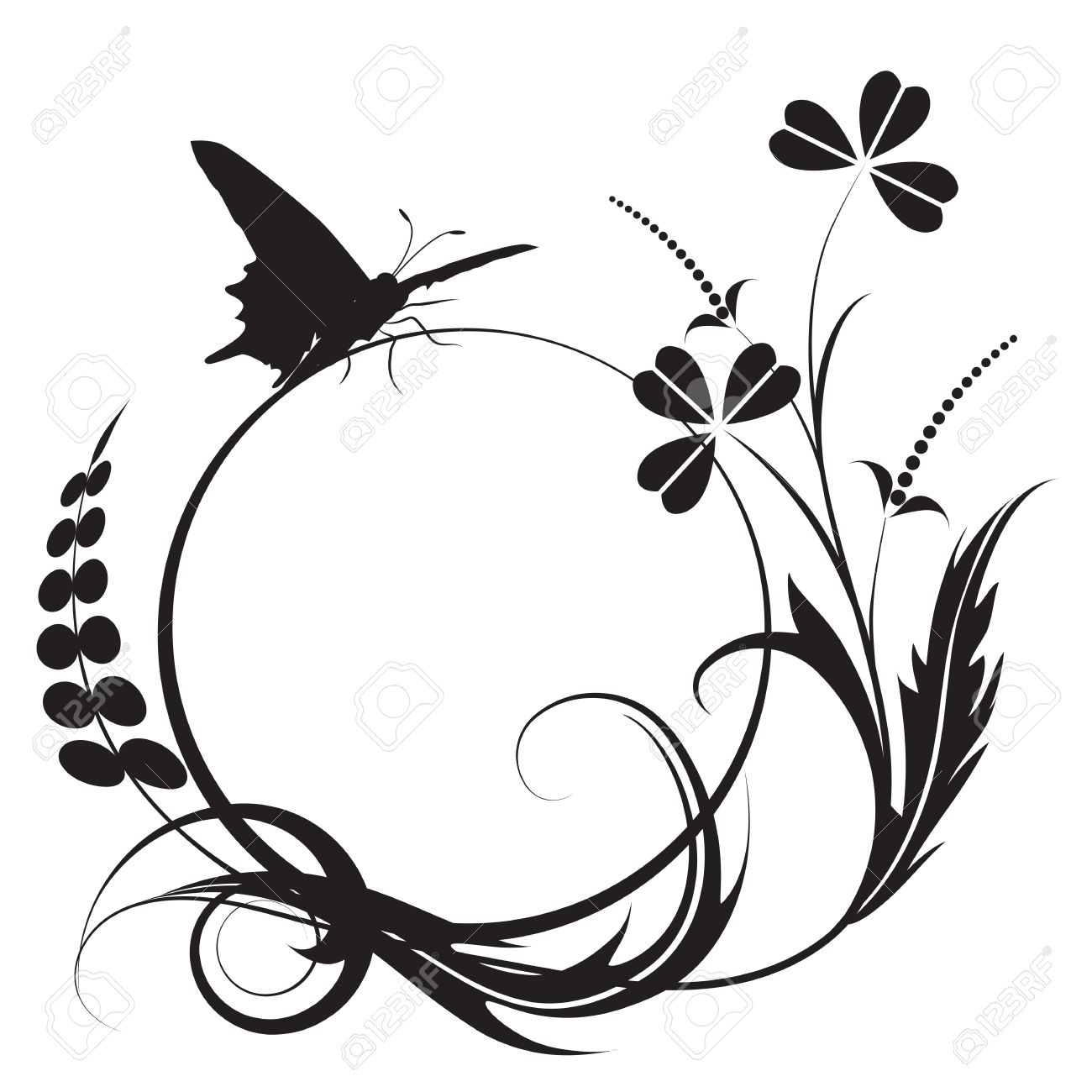 Floral Background With Butterfly In Black And White Colors Royalty