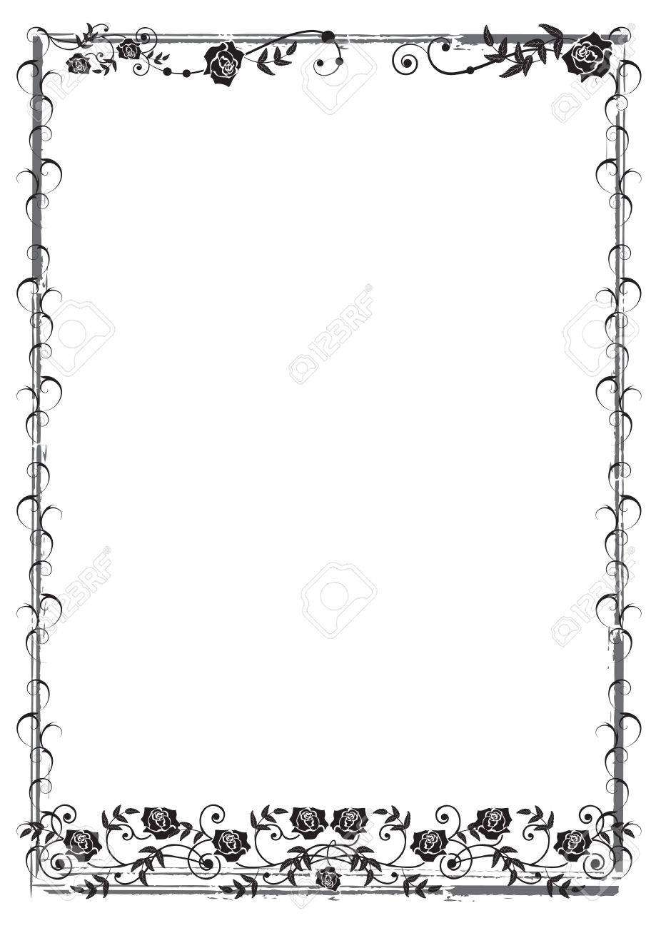 frame with roses in black and white colors Stock Vector - 7713792
