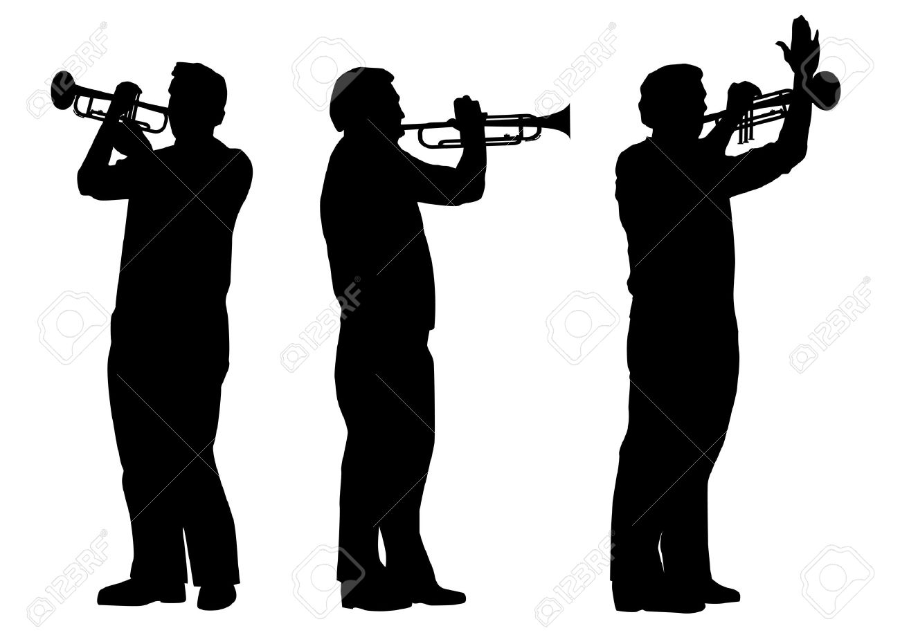 vector set of silhouettes of trumpeter in black and white colors Stock Vector - 8099426