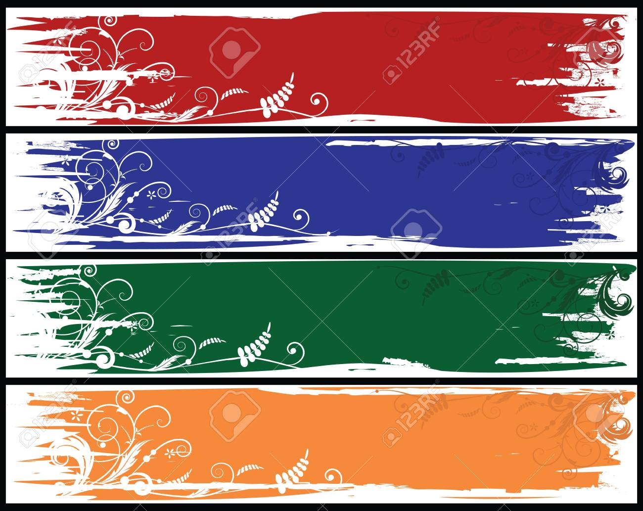 set of the varicoloured vector banners with  flowers Stock Vector - 8923631