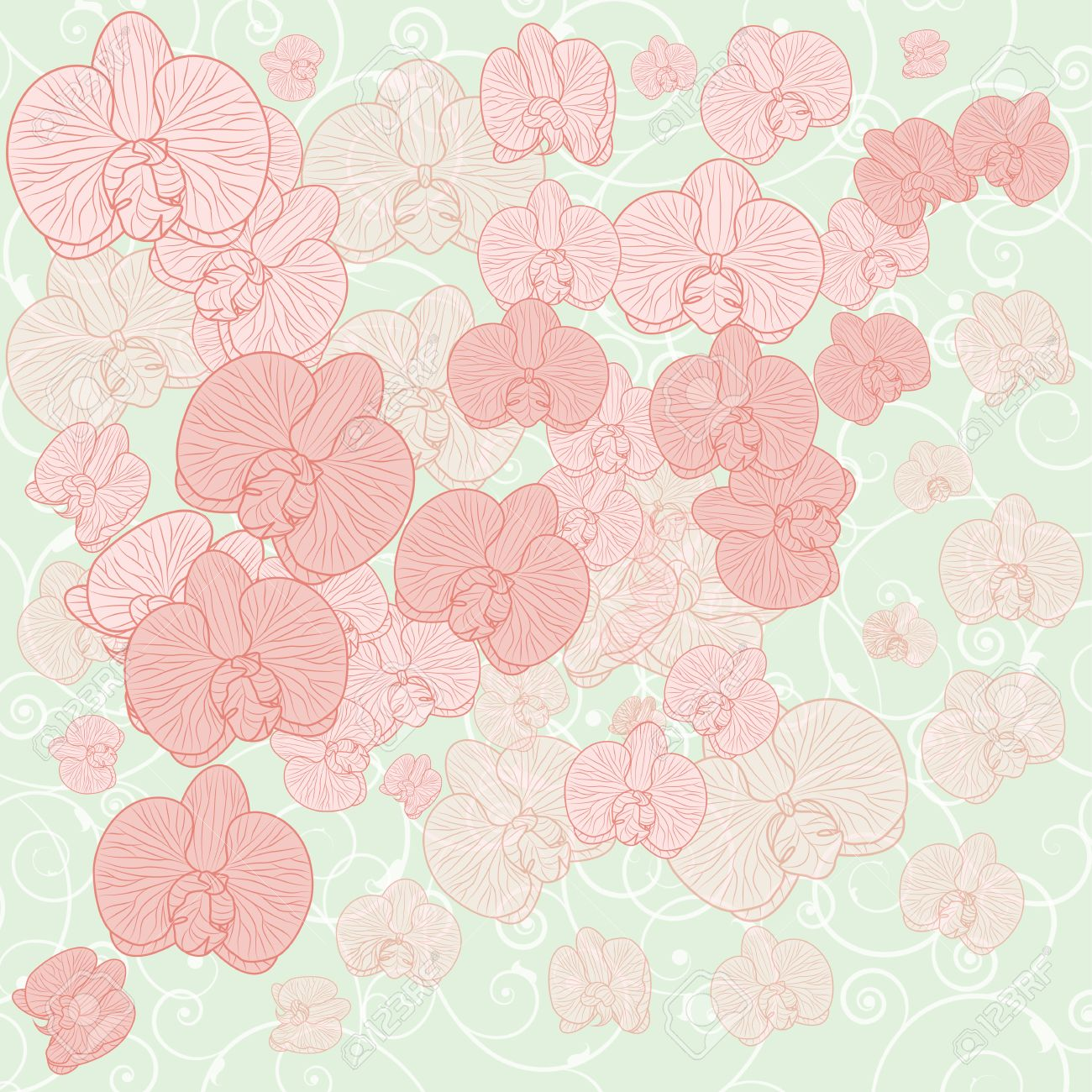 Vector De Fondo Con Flores De Orquídeas En Colores Pastel Eps 10