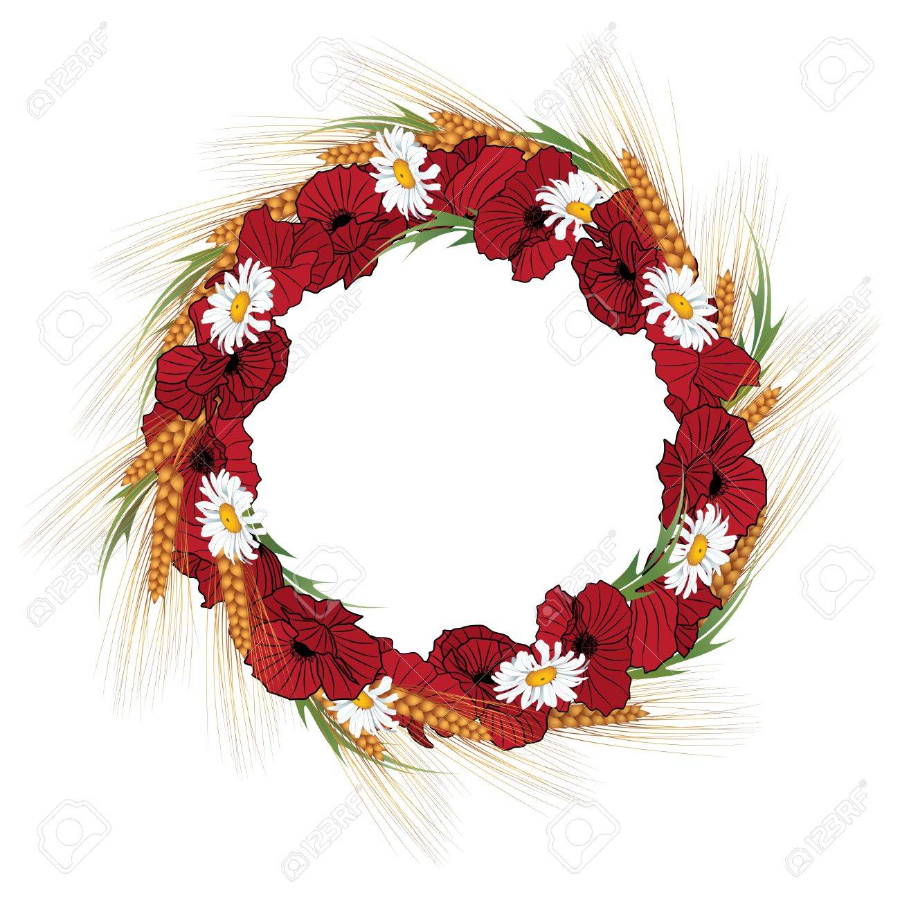 autumnal vector frame with wreath of poppies, daisies and ears of wheat Stock Vector - 9930004
