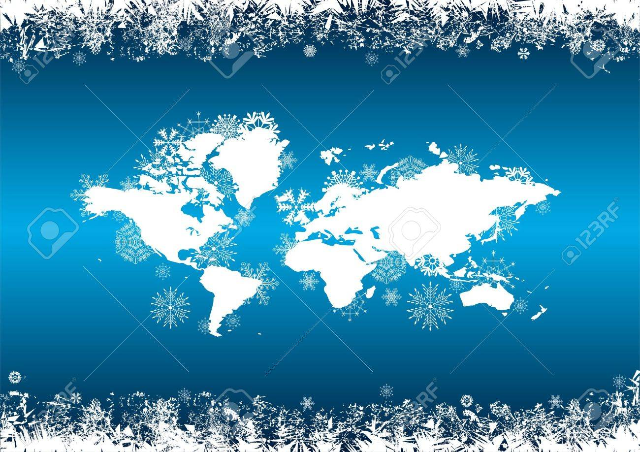 vector abstract background with snowflakes in blue and white colors Stock Vector - 10543393
