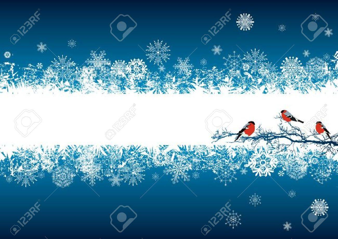 vector abstract background with bullfinches in blue and white colors - 10689785