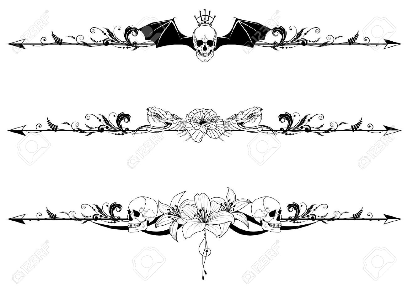 vector set of gothic borders with craniums and flowers - 10836047