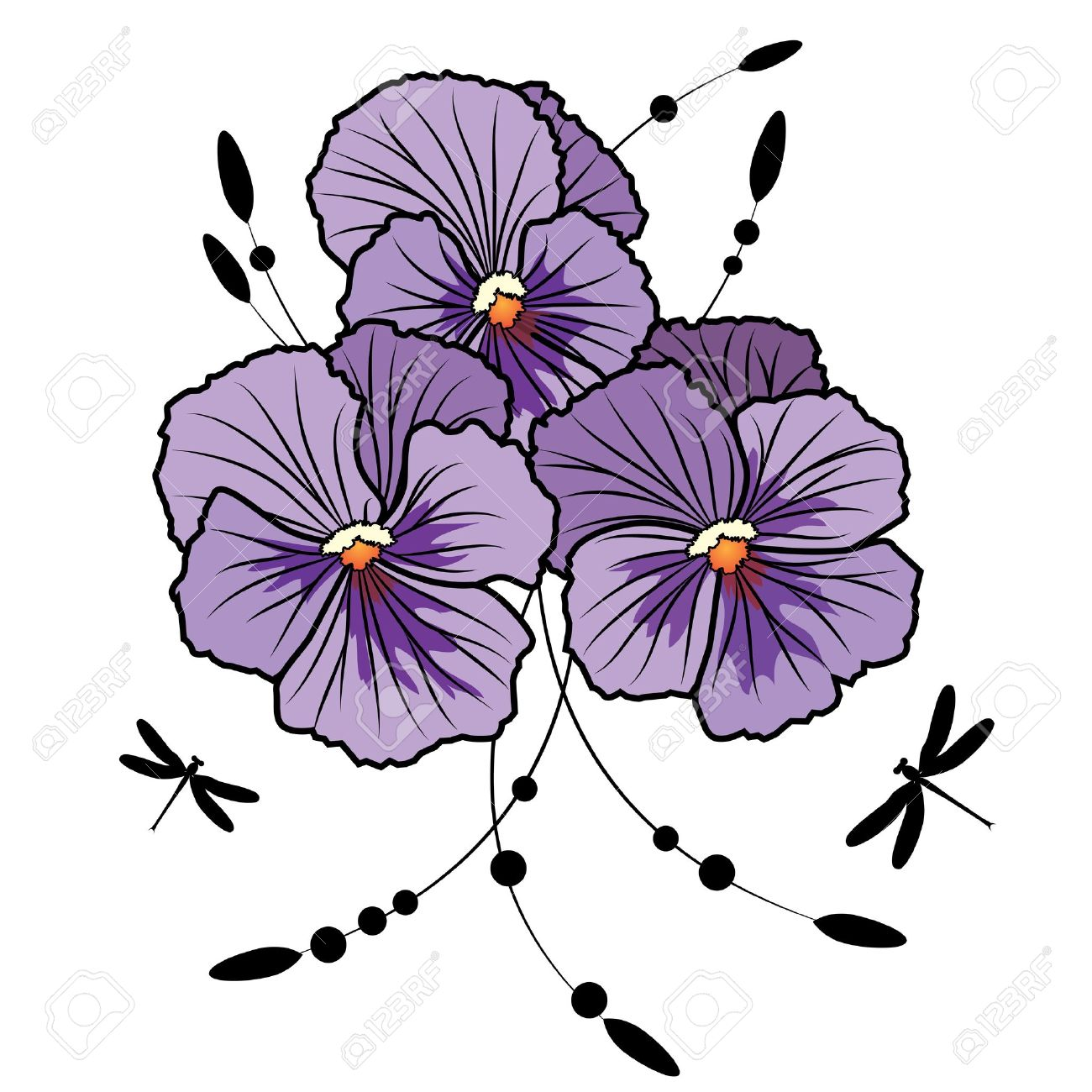 Vector Illustration Of Flowers Of Violet Pansies And Dragonflies Royalty Free Cliparts Vectors And Stock Illustration Image 12860304