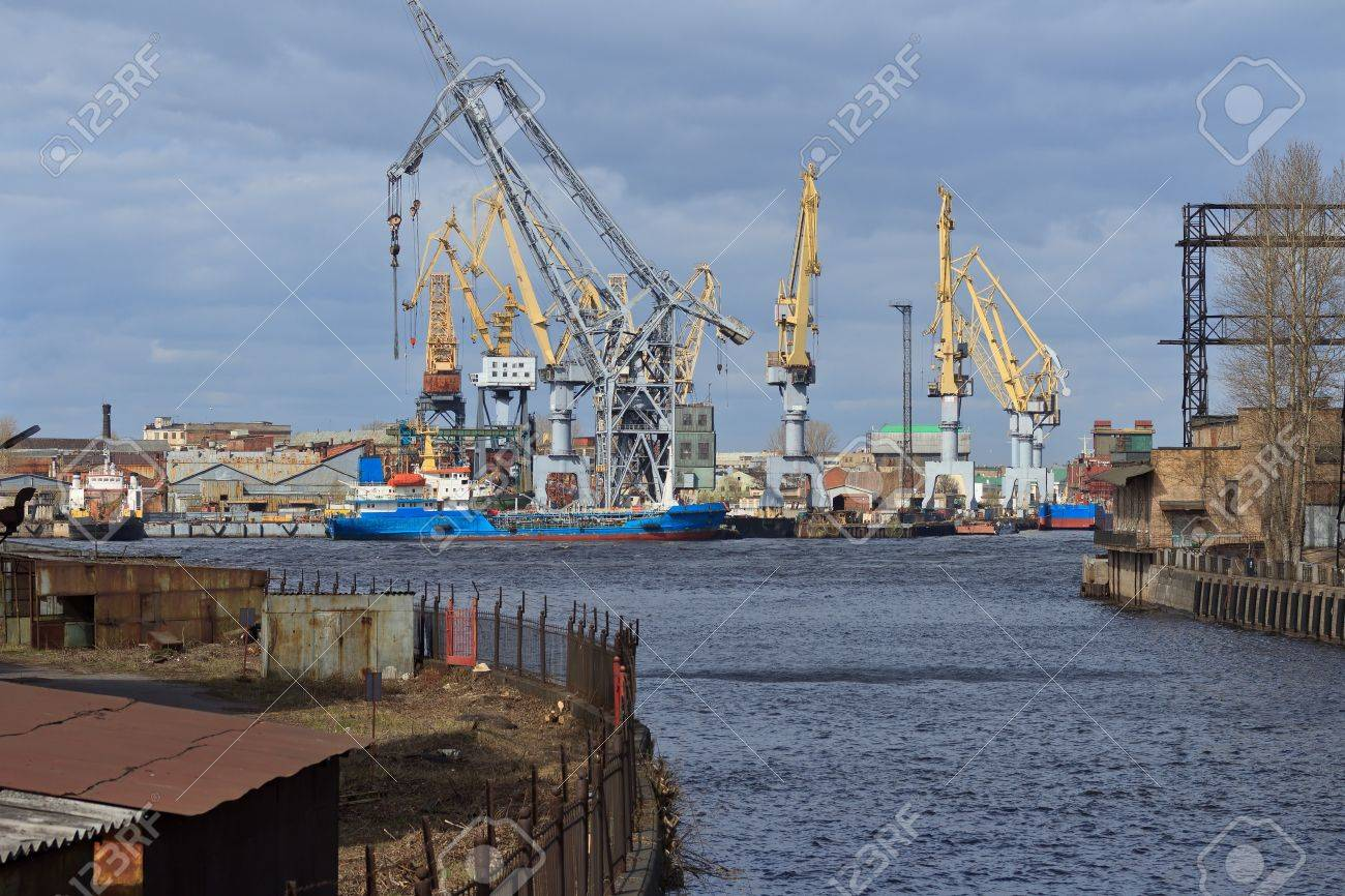industrial landscape with shipyard, boats and cranes Stock Photo - 13646587