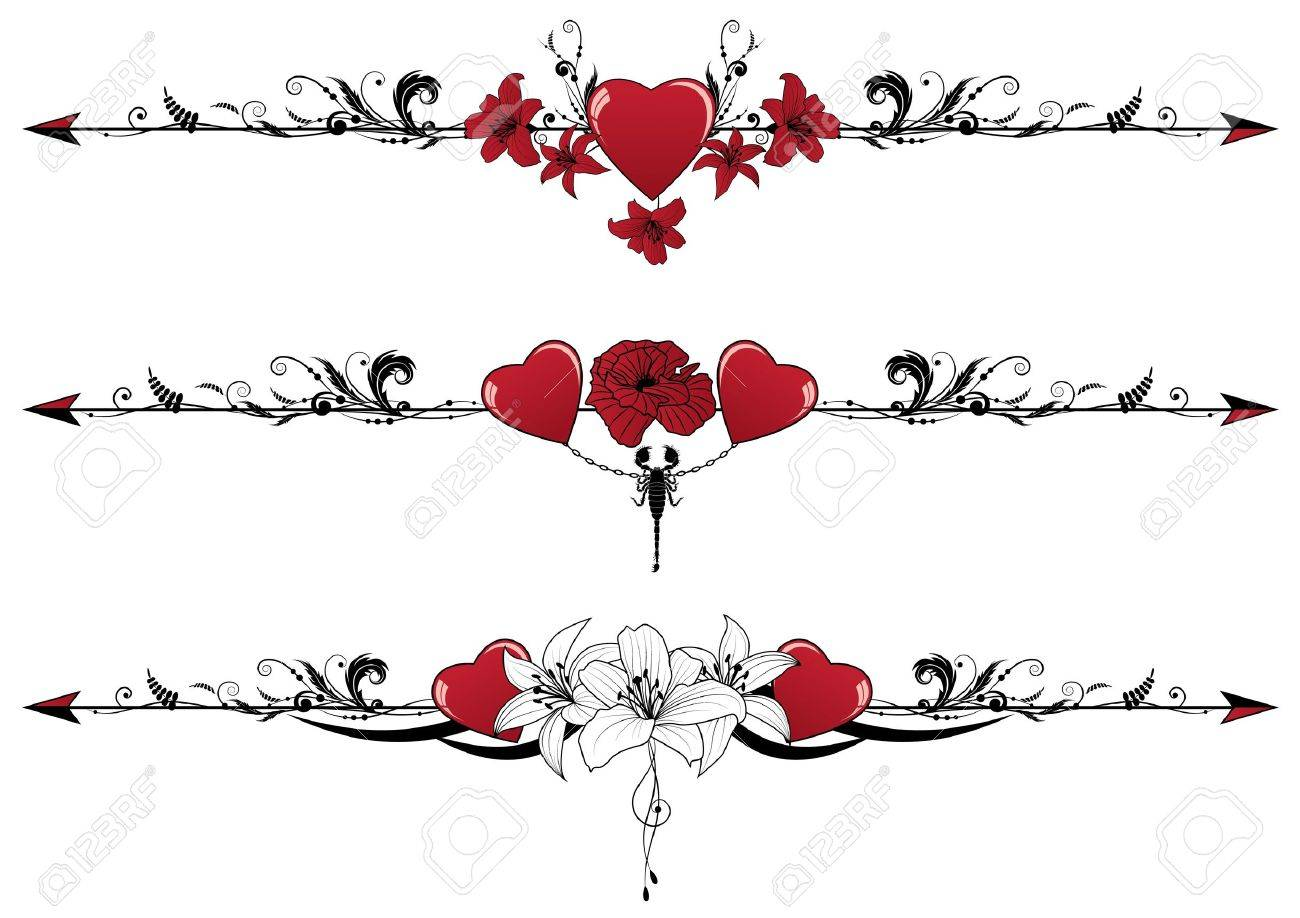 vector set of valentine borders with hearts scorpion and flowers