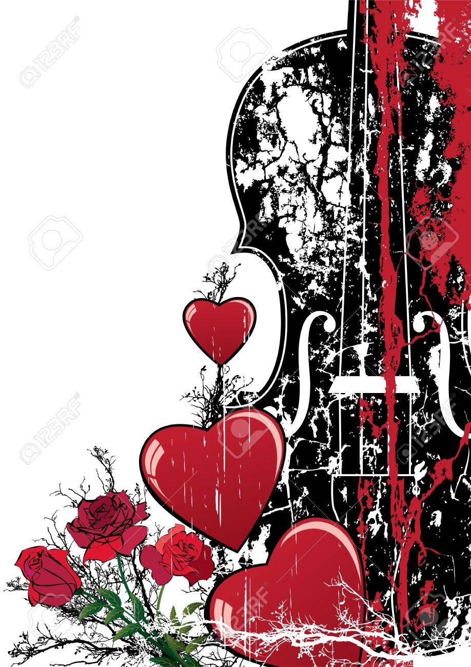 Vector Floral Valentine Komposition Mit Herzen Und Geige In Rot ...