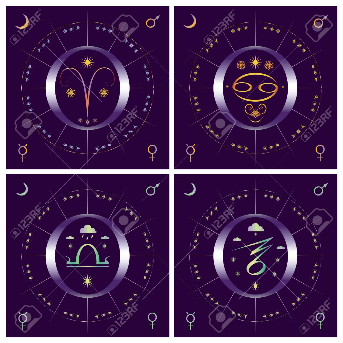 Set of allegorical vector illustration of 4 seasons with zodiacal symbols Stock Vector - 16813251