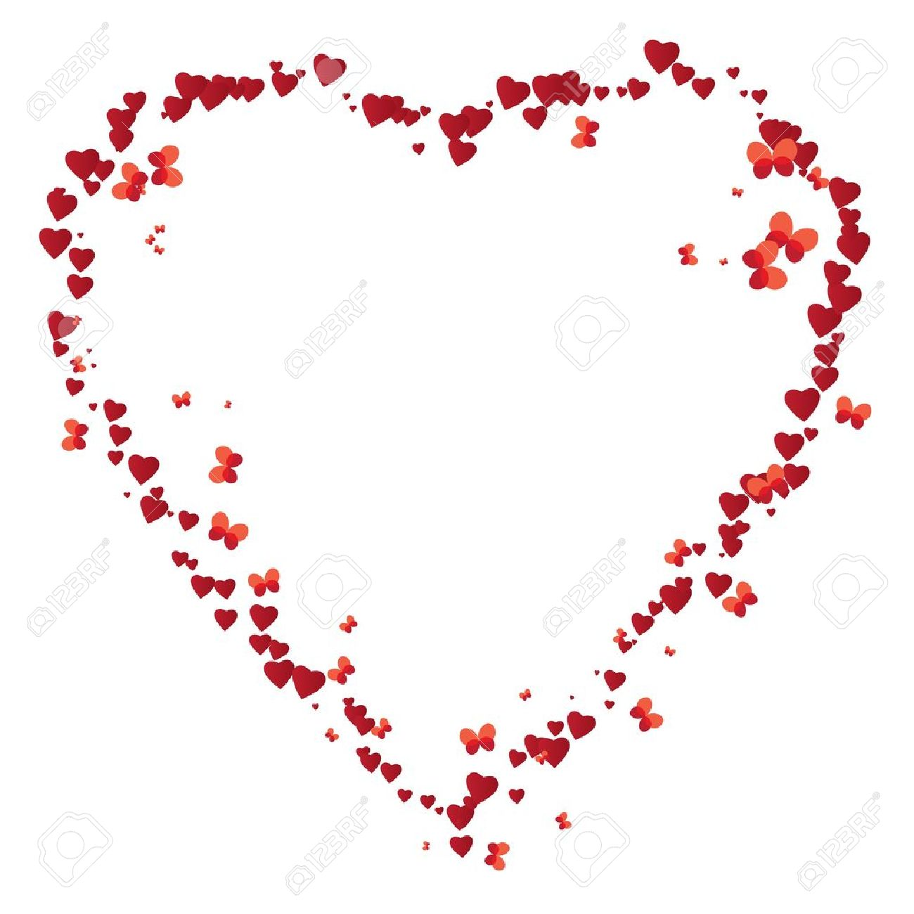 Vector Valentine Frame Like Heart With Butterflies Royalty Free ...