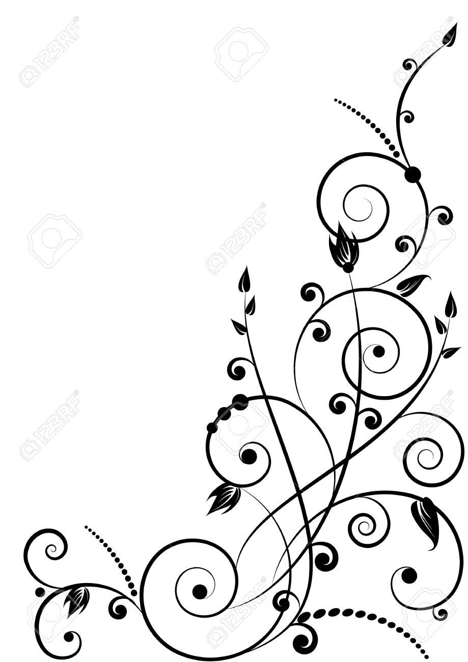 floral pattern in black color based on spirals Stock Vector - 17179653