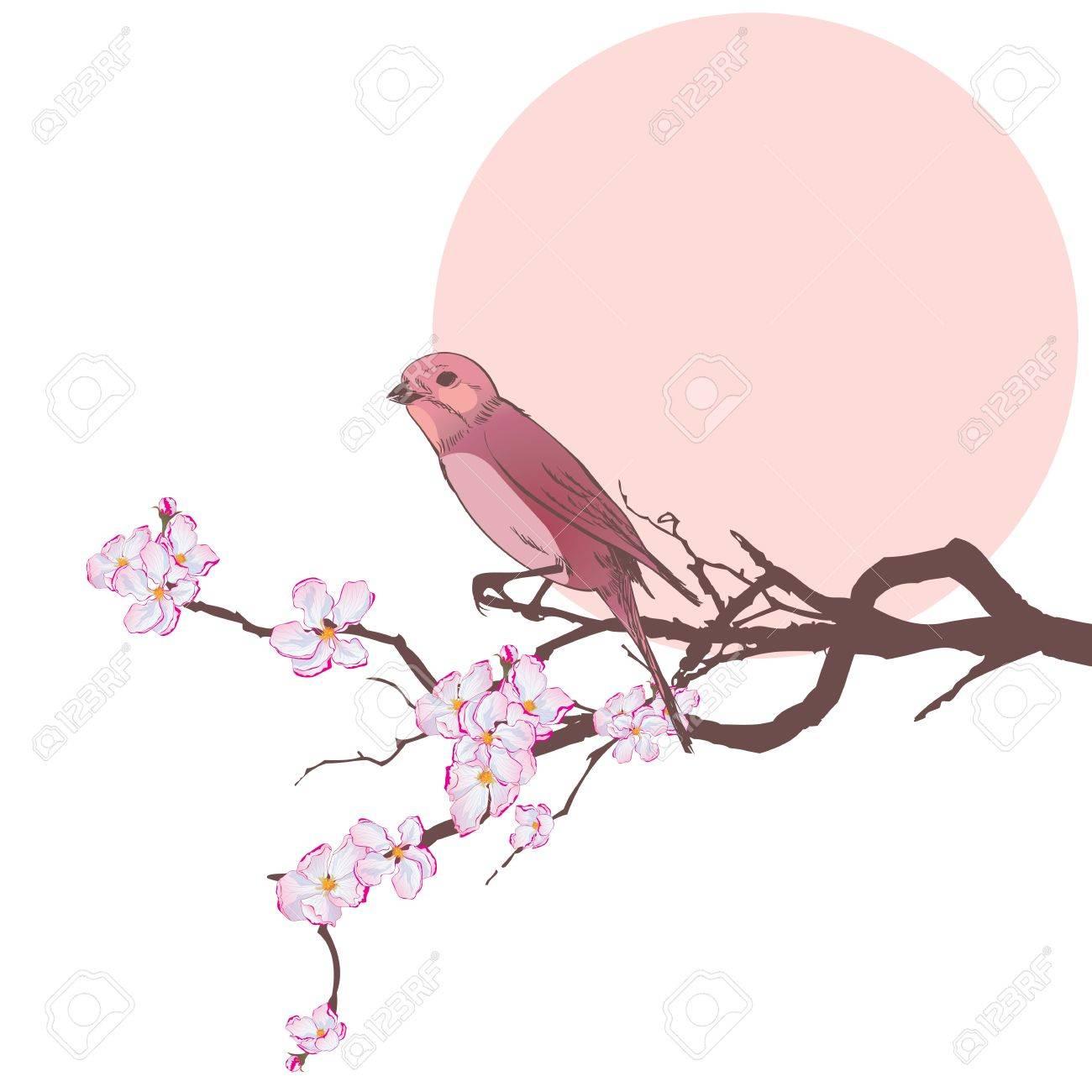 vector illustration of bird on the branch of cherry tree   EPS 10 Stock Vector - 17603492