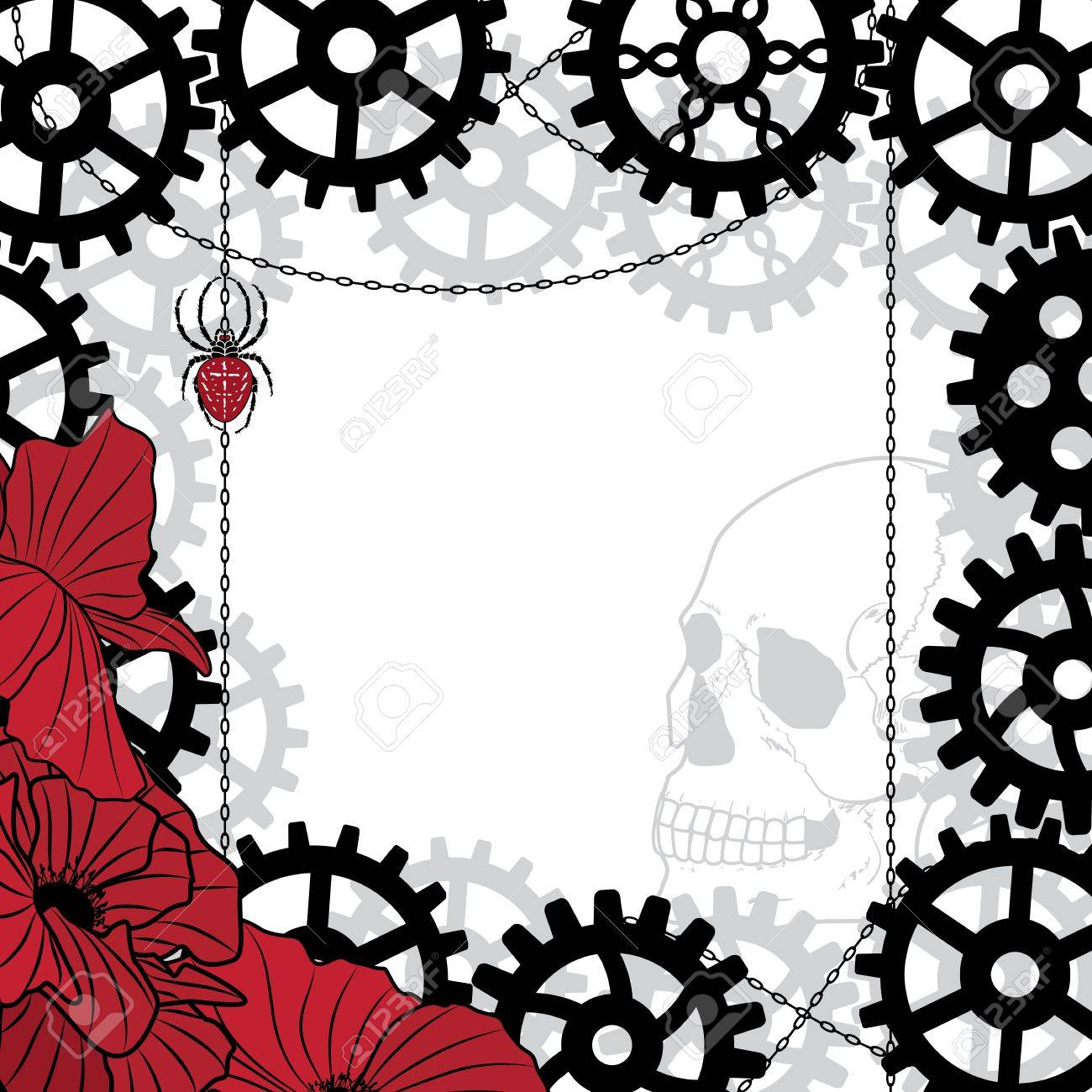 vector frame with skull, gears, spider and chains in black, red and white colors Stock Vector - 20227521