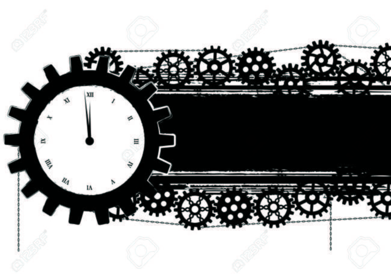banner with gears and clock  in black and white colors Stock Vector - 22533758