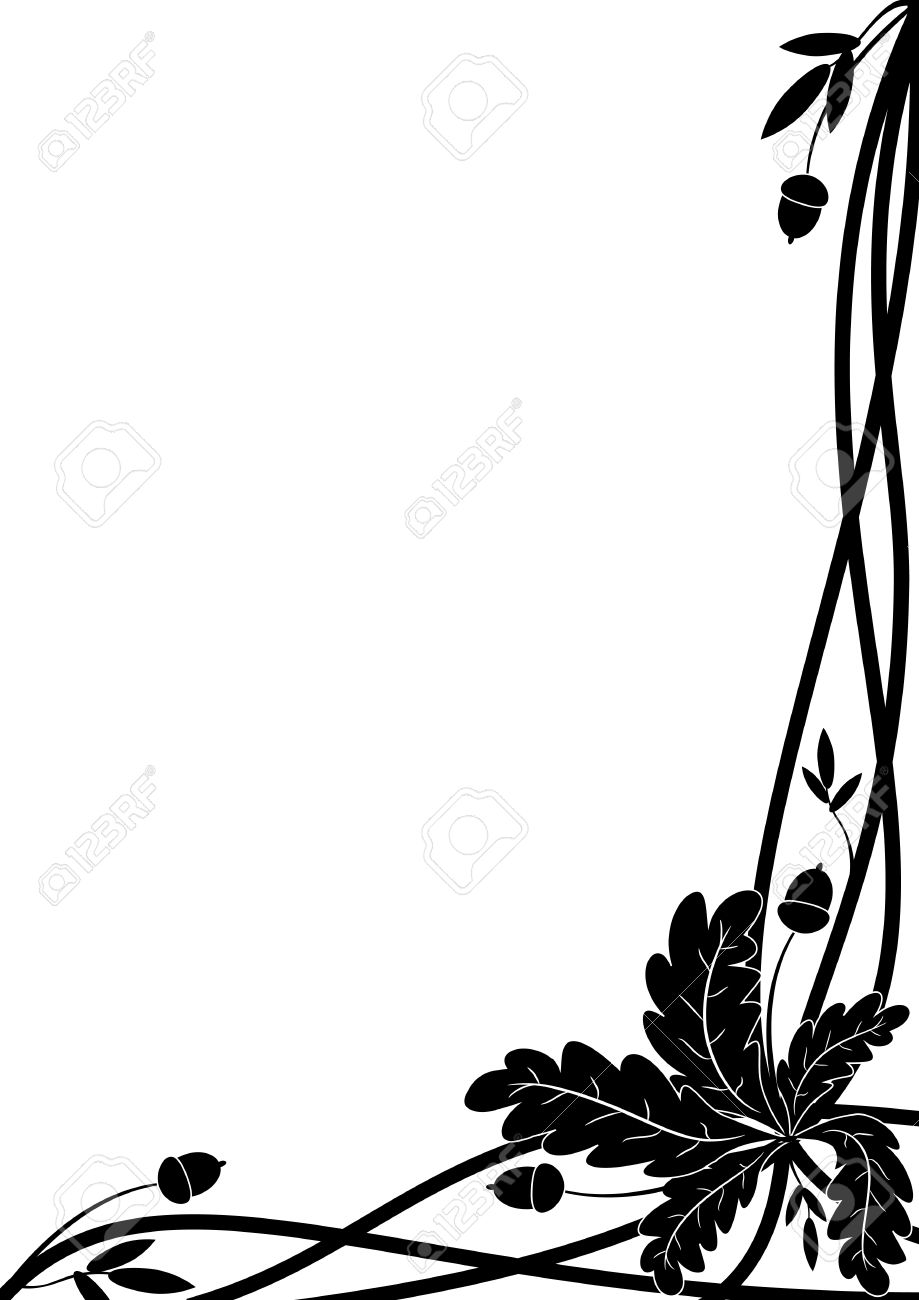 Vector Border With Oak Branch In Black And White Colors For Corner