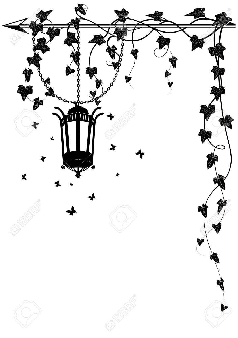 vector border with street lamp butterflies and ivy for corner