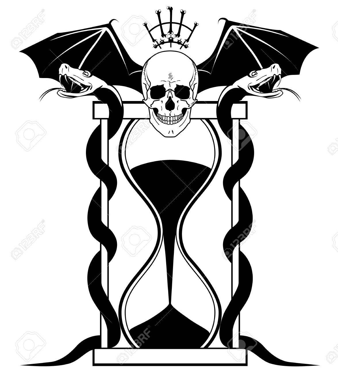 Ilustración Vectorial Con El Cráneo Serpientes Y Reloj De Arena En