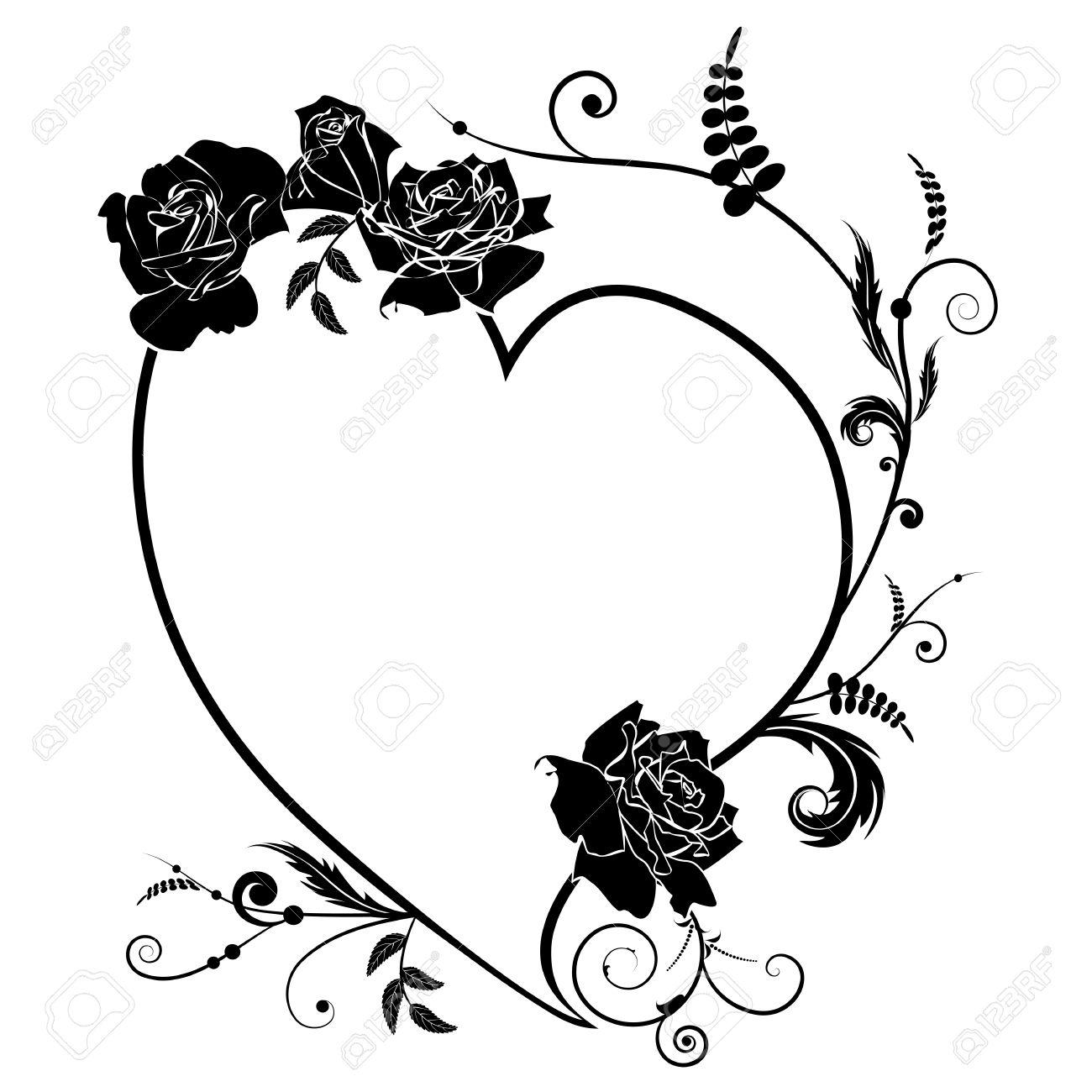 Vector Valentine Rahmen Mit Herzen Und Rosen In Schwarzen Und Weißen ...