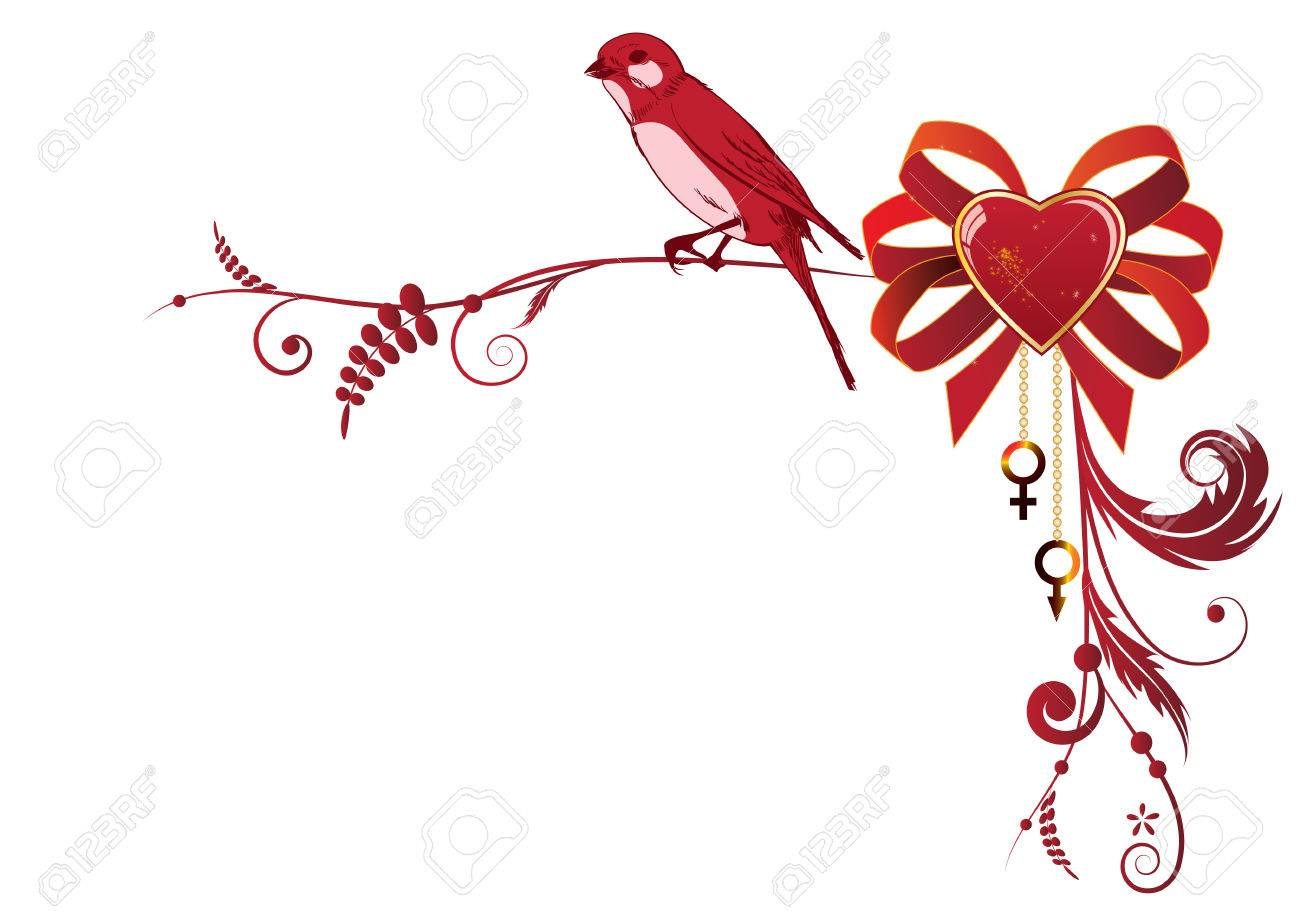 vector valentine border with bird and heart for corner design