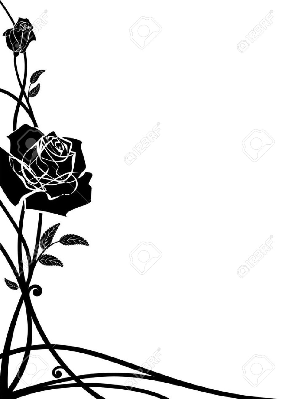 Vector Floral Border With Roses For Corner Design In Black And