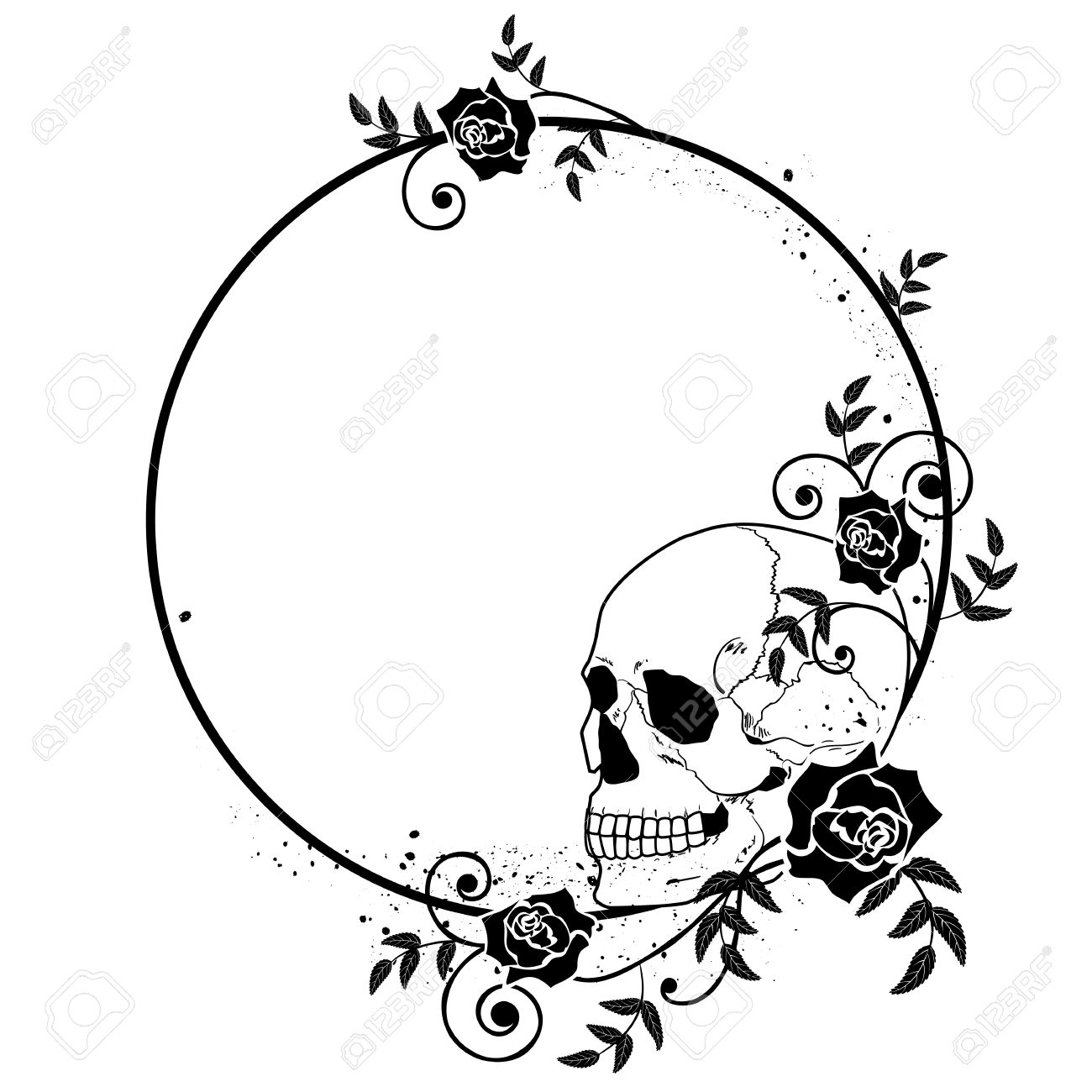 Vector Frame With Skull And Roses In Black And White Colors Royalty ...