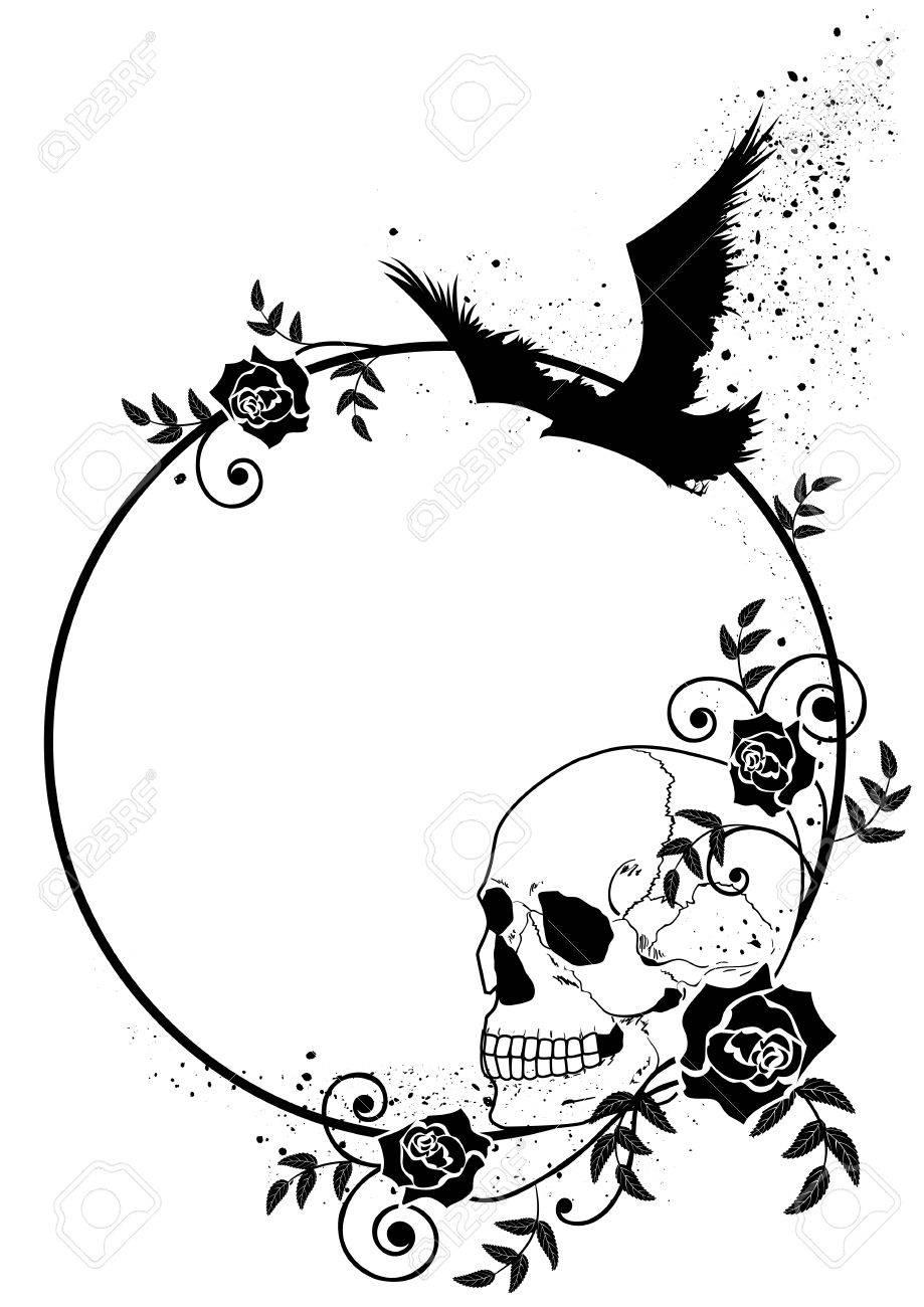 Marco Del Vector Con El Cráneo, Cuervo Y Rosas En Colores Blanco Y ...