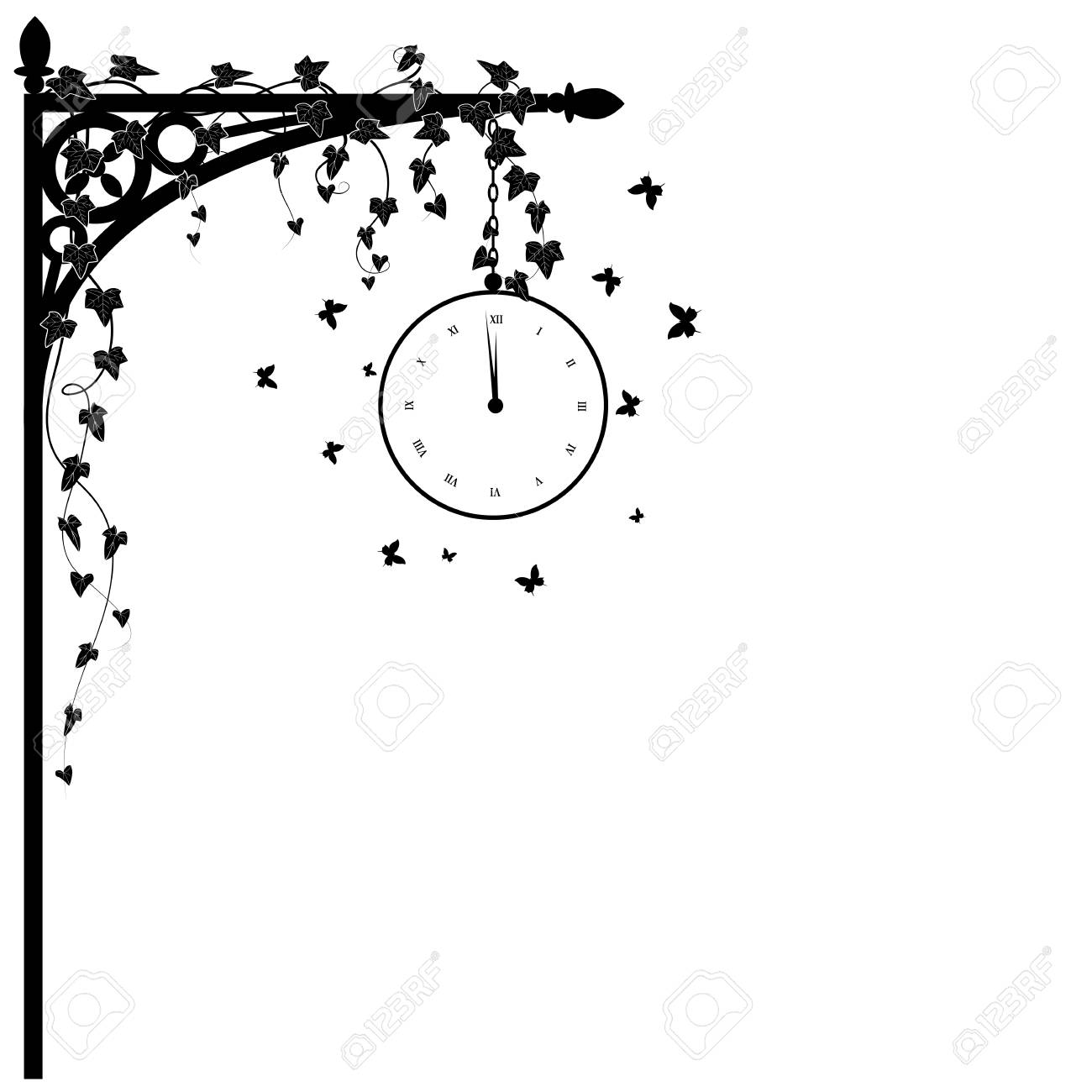 vector illustration for corner design with clock, ivy and butterflies