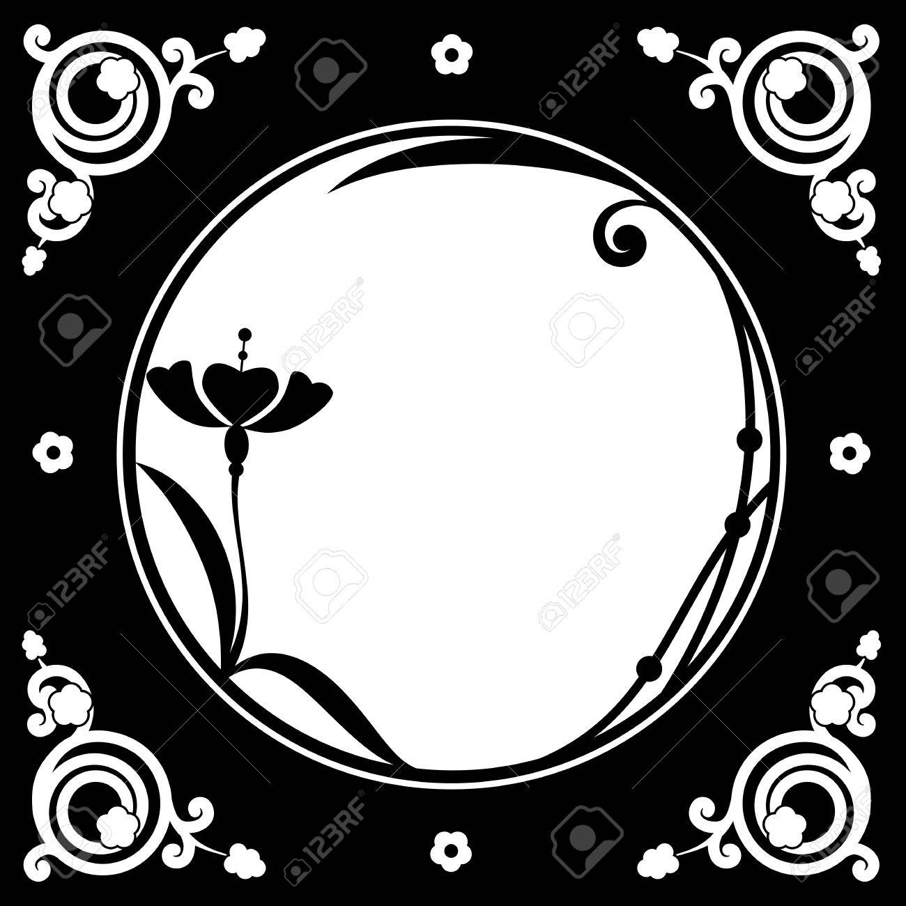 Vector Folk Floral Frame In Black And White Color