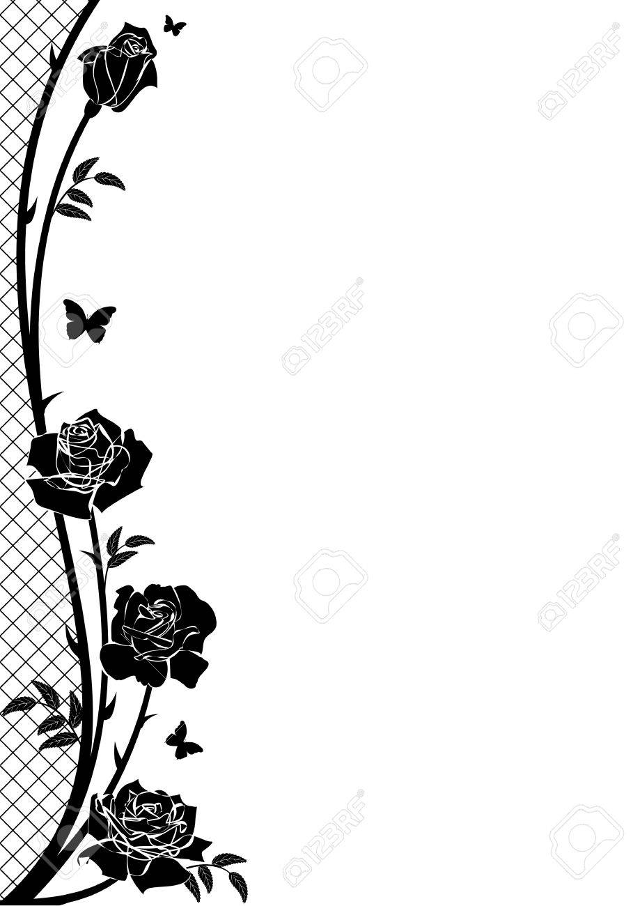 vector border with rose, butterflies and lattice in black and white color - 71945619