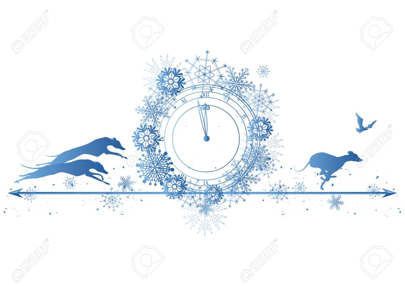 new year border with dogs raven and clock in blue colors stock vector 84471118