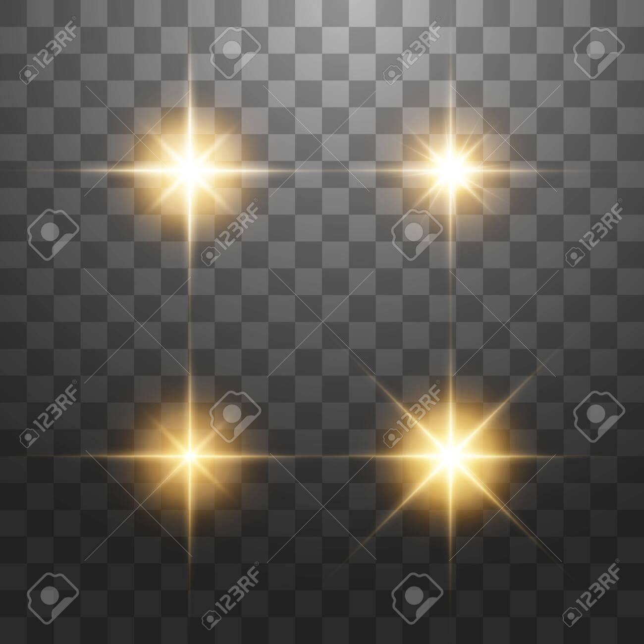 Creative concept Vector set of glow golden light effect stars bursts with sparkles isolated on transparent background. - 123425431