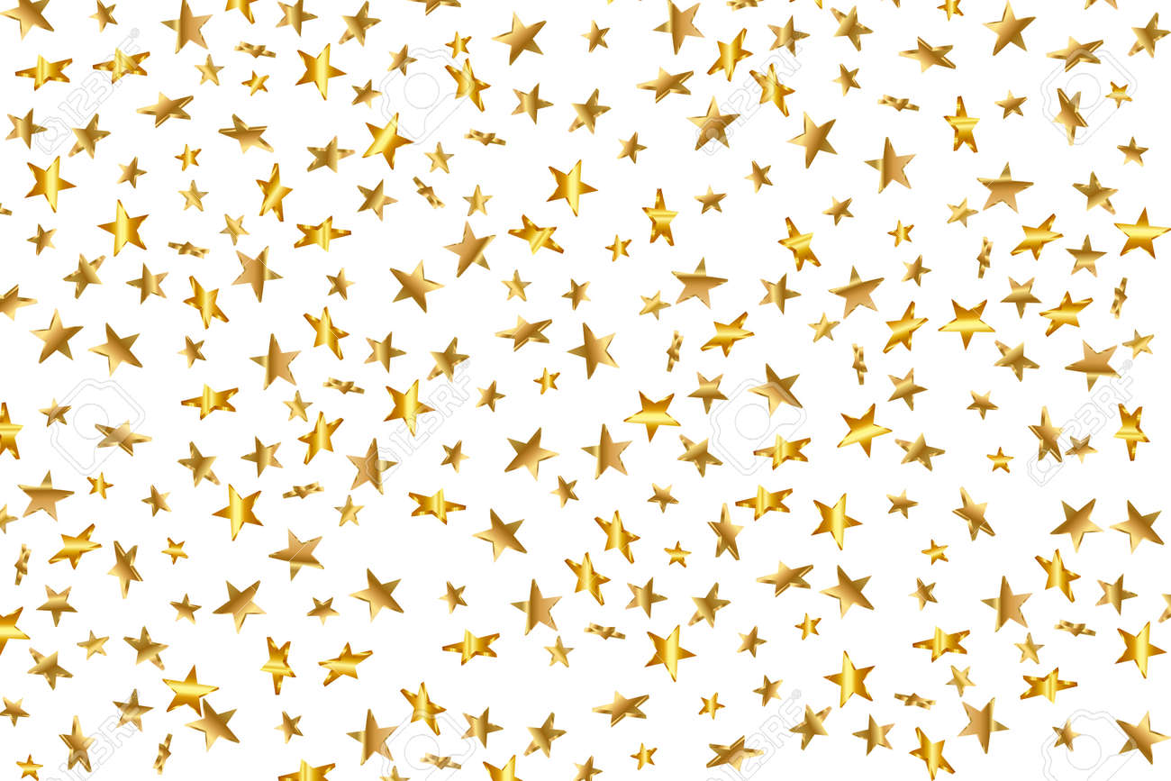 3d Star Falling. Gold Yellow Starry on transparent Background. Vector Confetti Star Background. Golden Starlit Card. Confetti Fall Chaotic Decor. - 152226152