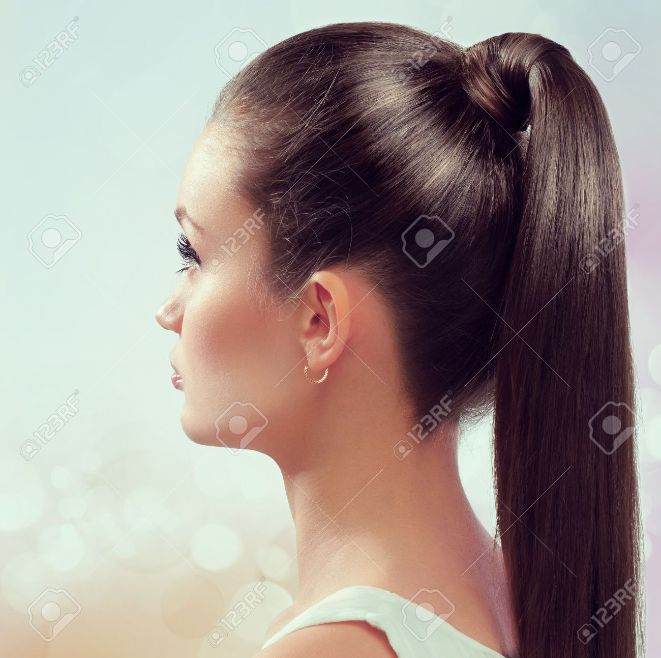 Young female with healthy shining brown hairs put in pony tail. - 24894688