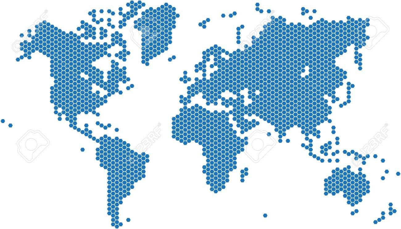 Hexagon shape world map on white background vector image royalty hexagon shape world map on white background vector image stock vector 52397920 gumiabroncs Gallery