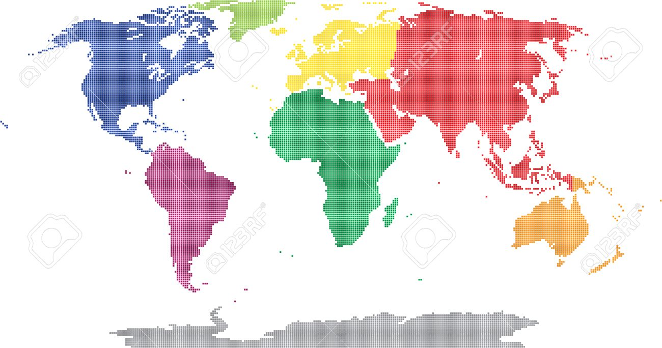 pixel world map colored by continental royalty free cliparts