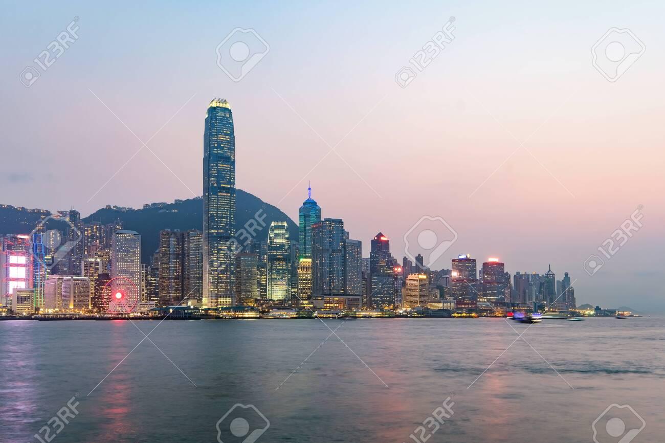 Hong Kong skyline on the evening seen from Kowloon, Hong Kong, China. - 121043121